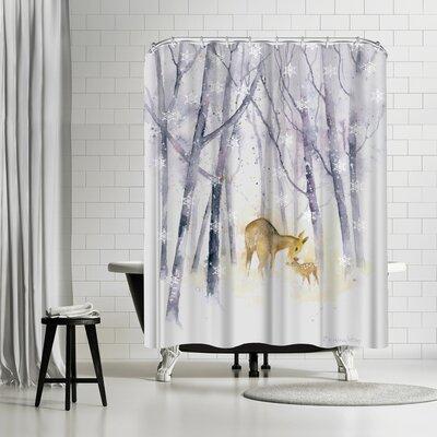 Rachel McNaughton Snowflake Forest Deer Shower Curtain