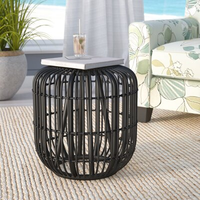 Adaline Rattan Accent Stool Color: Black