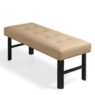 "Haverhill 18"" Tall Memory Foam Padded Bed Upholstered Bench Upholstery: Beige"