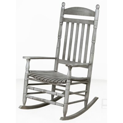 Benton Round Post Slat Back Rocking Chair Color: Gray