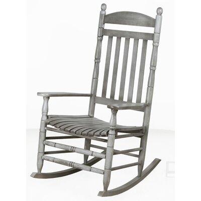 Benton Round Post Slat Back Rocking Chair Color: Gray