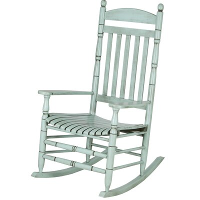 Benton Round Post Slat Back Rocking Chair Color: Light Teal