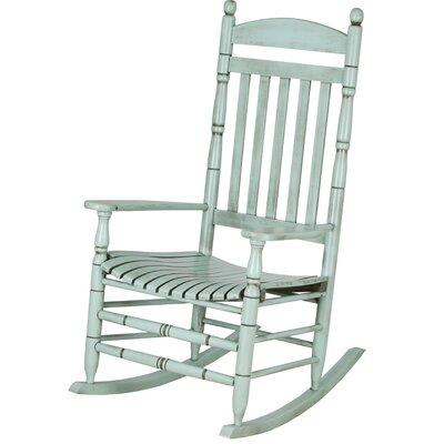 Benton Round Post Slat Back Rocking Chair Color: Light Teal