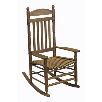 Benton Round Post Slat Back Rocking Chair Color: Light Brown