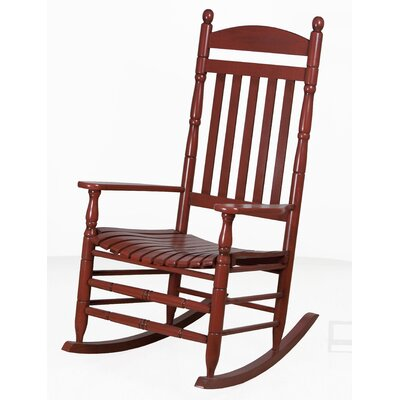 Benton Round Post Slat Back Rocking Chair Color: Red