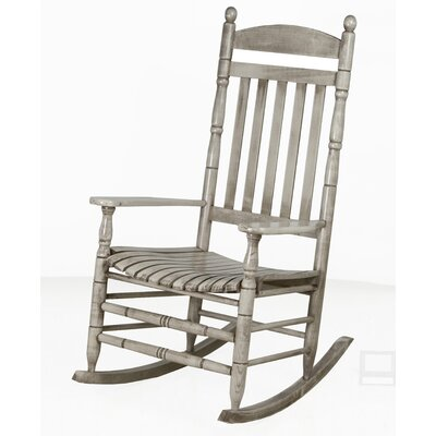 Benton Round Post Slat Back Rocking Chair Color: Silver