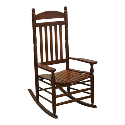 Benton Round Post Slat Back Rocking Chair Color: Brown