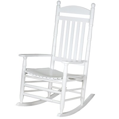 Benton Round Post Slat Back Rocking Chair Color: White