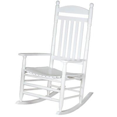 Benton Round Post Slat Back Rocking Chair Color: White