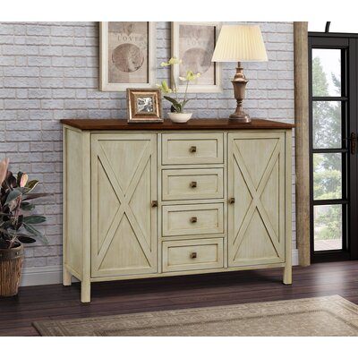 Lamb Farmhouse 4 Drawer 2 Door Accent Cabinet Color: Beige