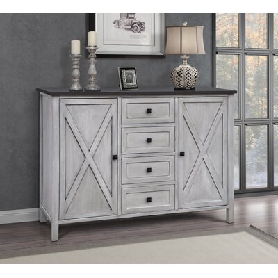 Lamb Farmhouse 4 Drawer 2 Door Accent Cabinet Color: Gray