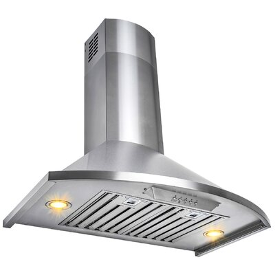 "30"" 400 CFM Convertible Wall Mount Range Hood Finish: Brushed Stainless Steel"