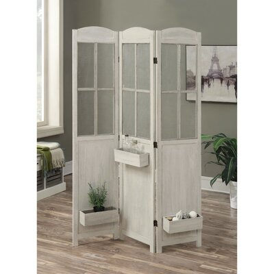 Vidal 3 Panel Room Divider Color: White