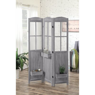 Vidal 3 Panel Room Divider Color: Gray