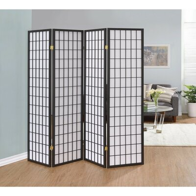 Miconi 4 Panel Room Divider Color: Gray
