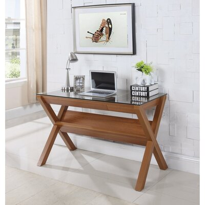 Gillies Wooden Desk with Tempered Glass Top