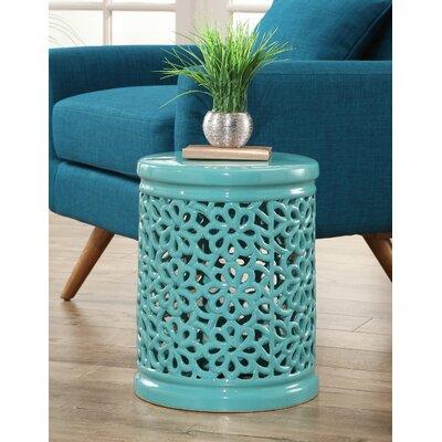 Burkholder Floral Cutout Garden Stool Color: Turquoise
