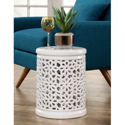 Burkholder Floral Cutout Garden Stool Color: White