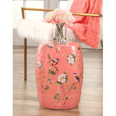 Critchlow Hand Painted Floral Garden Stool Color: Coral