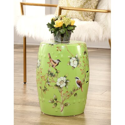 Critchlow Hand Painted Floral Garden Stool Color: Green