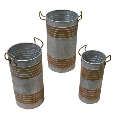 Gigante Round Metal 3 Piece Umbrella Stand Set with Handle