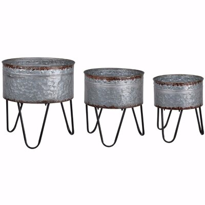 Nymphea Galvanized 3 Piece Metal Pot Planter Set