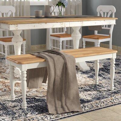 Caldina Wood Bench Upholstery: Natural/White