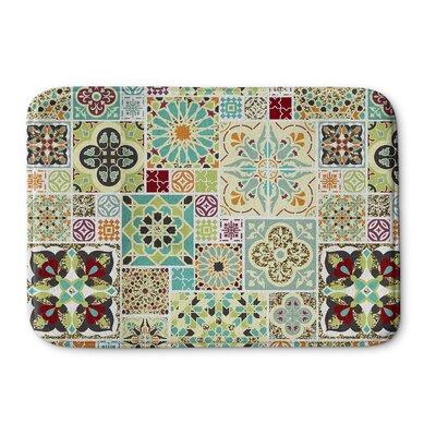 """Chrisman Tile Memory Foam Bath Rug Size: 17"""" W x 24"""" L, Color: Green/Blue"""