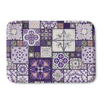 """Chrisman Tile Memory Foam Bath Rug Size: 17"""" W x 24"""" L, Color: Purple/Gold"""