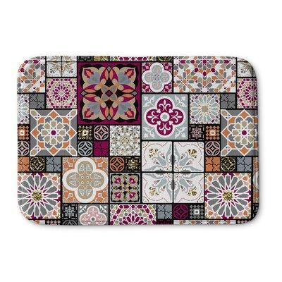 "Chrisman Tile Memory Foam Bath Rug Size: 24"" W x 36"" L, Color: Red/Gray"