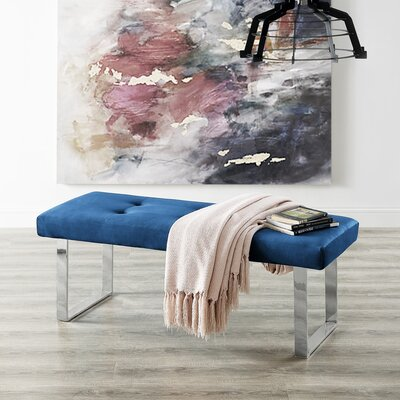 Bissett Upholstered Bench Color: Navy Chrome