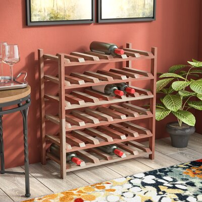 Karnes Redwood Stackable 36 Bottle Floor Wine Rack Finish: Natural