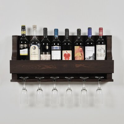 Anding Natural 6 Bottle Wall Mounted Wine Glass Rack Finish: Dark Brown