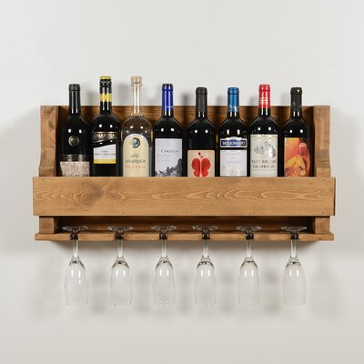 Anding Natural 6 Bottle Wall Mounted Wine Glass Rack Finish: Natural
