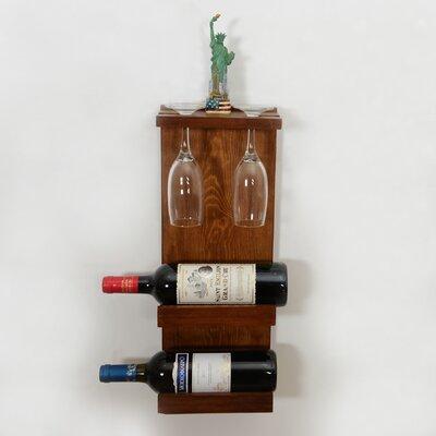 Belwood Decorative 2 Bottle Wall Mounted Wine/Glass Rack Finish: Brown