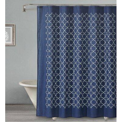 Almanza Tile Cotton Shower Curtain Color: Navy