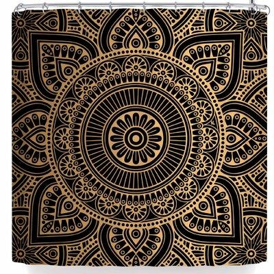 Nl Designs Rainbow Grunge Mandala Shower Curtain Color: Black/Gold