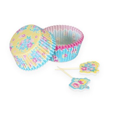 Choudhury 60 Piece Cupcake Case and Pick Country Floral Set