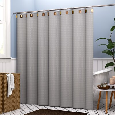 Atencio Textured Stripes 100% Cotton Shower Curtain Color: Gray
