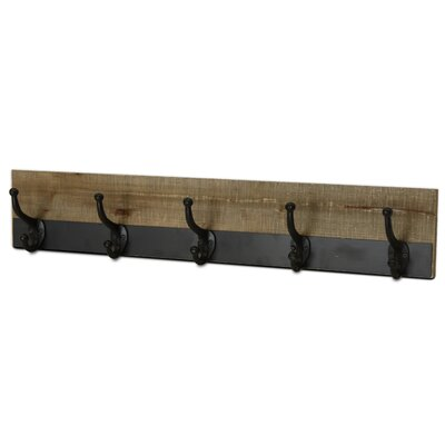 Lindgren Metal Trimmed Five Hook Wall Mounted Coat Rack