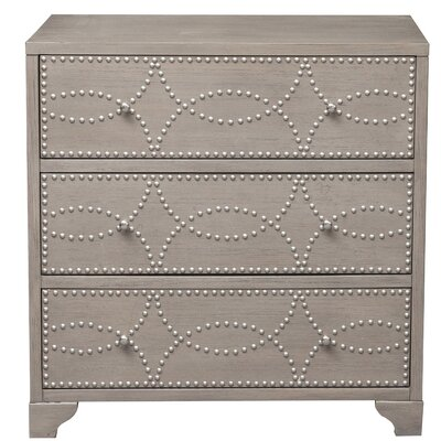 Candice Nail Head 3 Drawers Accent Chest