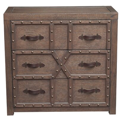 Starr Traditional Styled Nail Head 3 Drawers Accent Chest