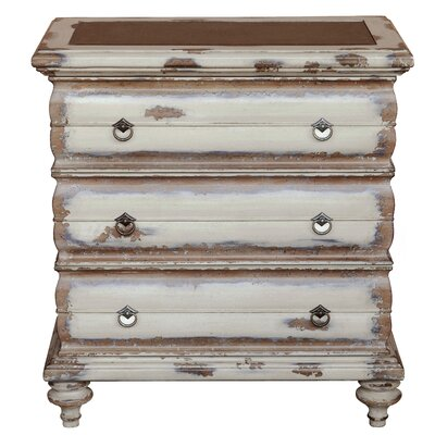 Laureano Traditional Heavily Distressed 3 Drawers Accent Chest