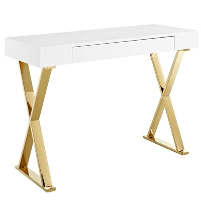 Kerner Console Table Table Base Color: Gold, Table Top Color: White