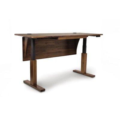 "Invigo Desk Size: 26"" H x 60"" W, Color (Top/Frame): Natural Walnut/Black/Pencil Drawer"