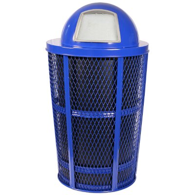 Expanded Basket Receptacle Metal 48 Gallon Trash Can Color: Blue