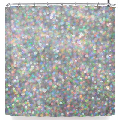 Susan Sanders Rainbow Silver Glitter Shower Curtain