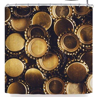 Susan Sanders Gold Bottle Caps Shower Curtain