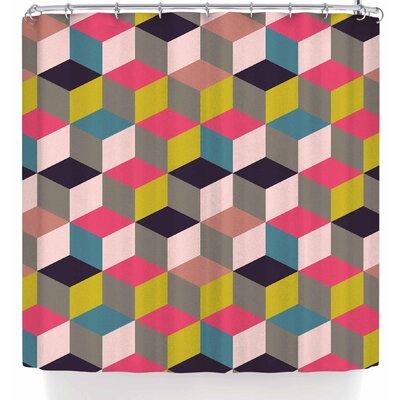 Bluelela Cube 004 Shower Curtain Color: Pink/Beige