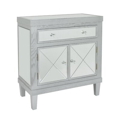 Jeremiah Wood and Mirror 1 Drawer Accent Cabinet